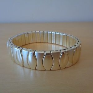 Napier Light Goldtone Textured Stretch Bracelet